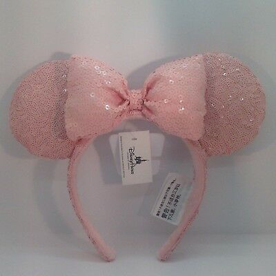 Disney Parks Millennial Pink Minnie Mouse Ears Headband Sequin NWT