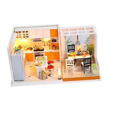 DIY Handcraft LED Wooden Dollhouse Miniature Furniture Kit Toy Doll House #B