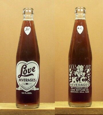 Love Beverages Vintage ACL 10 ounce Soda Pop Bottle Muskogee 74402 Oklahoma 694