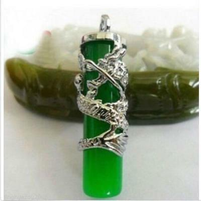 Fashion jasper Tibet Silver Dragon Green Jade Pillar Pendant Necklace Amulet