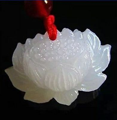 Hand carved natural white jade Snow Lotus flower beads pendant / free shipping