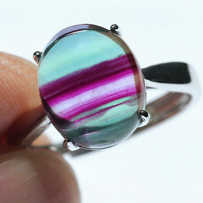16.8CT 100% Natural 18K Gold Plated Bi Color Watermelon Fluorite Ring UDVU77