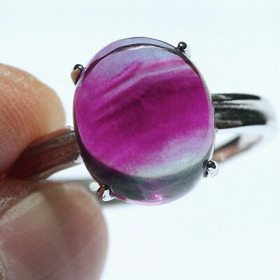 16.5CT 100% Natural 18K Gold Plated Bi Color Watermelon Fluorite Ring UDVU78