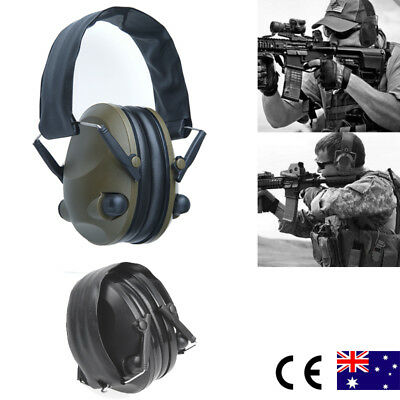 Folding Shooting Electronic Earmuffs Ear Muffs Hunting Protection w/ Input Jack