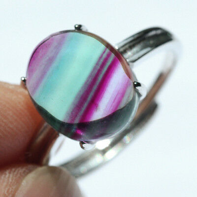 16.3CT 100% Natural 18K Gold Plated Bi Color Watermelon Fluorite Ring UDVU80