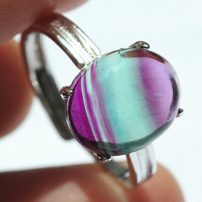 16.5CT 100% Natural 18K Gold Plated Bi Color Watermelon Fluorite Ring UDVU81
