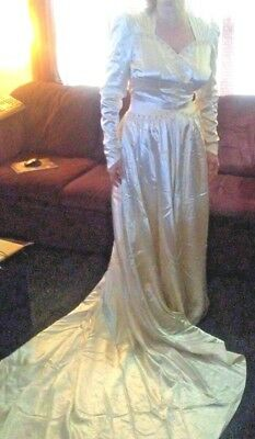 Vintage Satin Beaded Wedding Dress Button Back and Heart Lace Veil 1940s 1950s