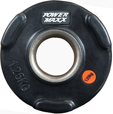 POWER MAXX 1.25kg Olympic Plate // Tri-Handle Home Gym Weight Rubber Coated