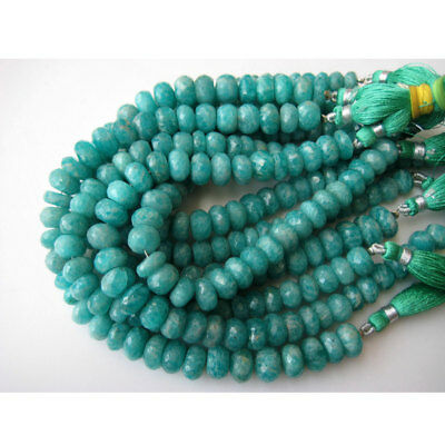 Amazonite Faceted Rondelle Gemstone 9mm Beads 8 Inch Full Strand 32 Piece Approx