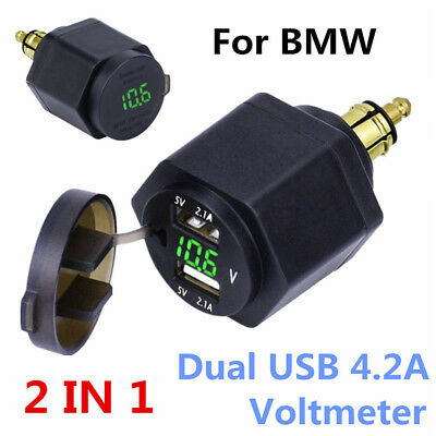 Motorcycle Dual USB Charger Green LED Voltmeter Powerlet For BMW Din Hella Plug