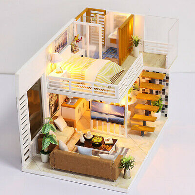 DIY Handcraft LED Wooden Dollhouse Miniature Furniture Kit Toy Doll House #A