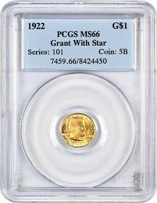 1922 Grant with Star G$1 PCGS MS66 - Classic Commemorative - Gold Coin