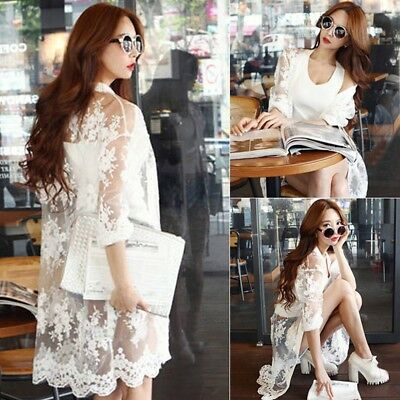 UK Womens Floral Lace Cardigan Long Sleeve Hollow Outwear Bikini Cover Up Tops