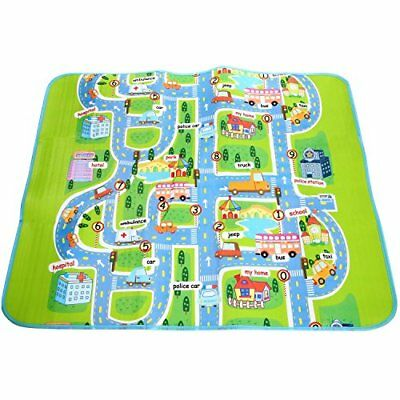 """Anfan 62.4 50.7inches """"Happy City"""" Large Baby Play Mat with Number/Vehicle/Roads"""
