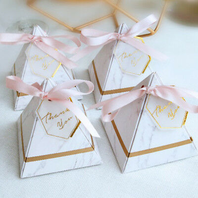 50/100Pcs Triangle Pyramid Style Candy Boxes Wedding Party Gift Boxes