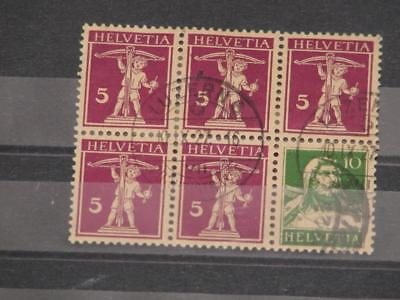 Switzerland Scott# 160a Pane of 6, used