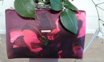 TED BAKER Elegant Wash Bag MakeUp Floral Purple Large/Small Vanity Rose Gold NEW