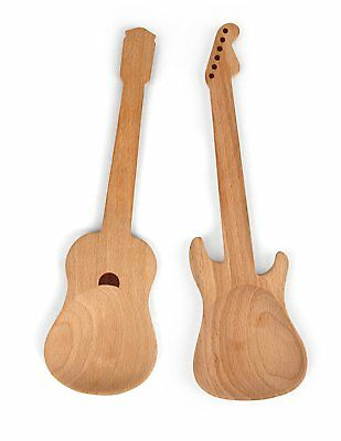 Rockin Spoons Wooden Guitar Shaped Serving Spoons x 2 Salad Servers Beech Wood