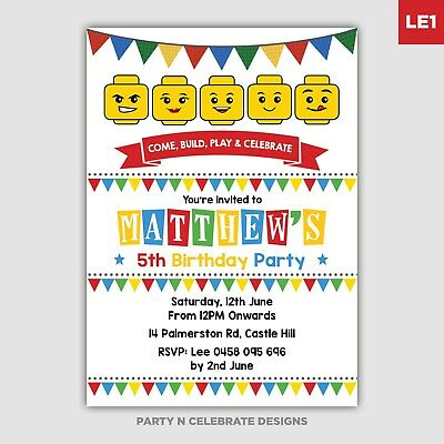 LEGO Birthday Invitation Party Supplies Lego Invite Printable Card DIGITAL FILE