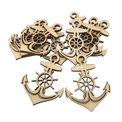 10pcs Unfinished Wooden Anchor Shapes Hanging Gift Tags Embellishment Crafts