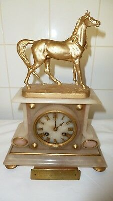 Vintage Japy Feres Mantle Clock with French Movement Surmounted Gilt Horse c1855