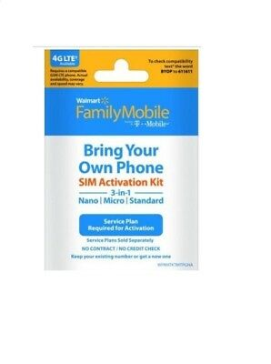 Walmart Family Mobile Starter Kit Micro Nano Sim Card 3/1