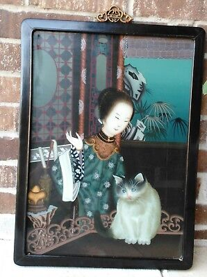 Art Vintage Original Chinese Reverse Painting on Glass Lady and cat.