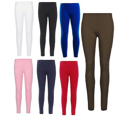 Girls 95% Cotton Leggings Plain New Dance Stretch Child Teens 5-13 Years