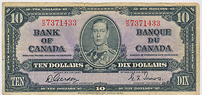 Bank Of Canada 10 Dollars 1937 Bc24B - Fn