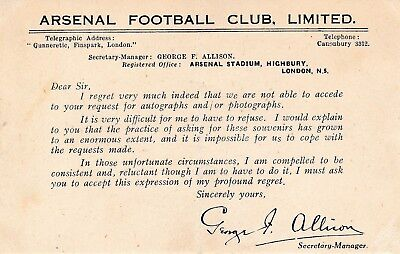 ARSENAL - Postcard from George Allison rejecting requests for footbal programmes