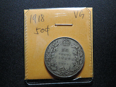 1918 50 Cent Coin Canada King George V Fifty Cents .925 Silver VG Condition