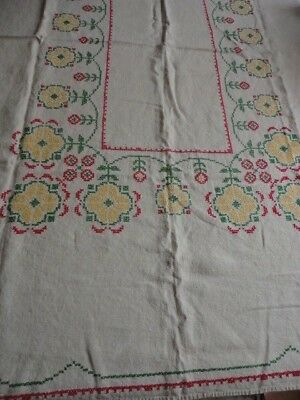 "Beautiful Vintage Hand Cross Stitch Embroidered Linen Tablecloth   48"" X 62"""
