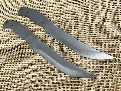 Lot of 2 1095 High Carbon Steel Trailing Point Knife Making Supplies Blank USA