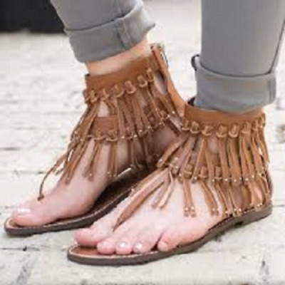 71c9b070a5b891 Sam Edelman Griffen Fringe Gladiator Sandals Women s SIZE 7.5 Leather  130  NEW