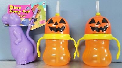 halloween sippy cup set with straws pumpkin heads and dinosaur lot of 3