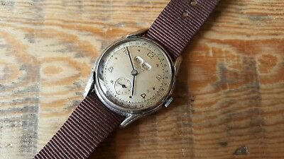 Gent's Vintage Triple Date Sully Watch Working But Sold For Spares / Repairs