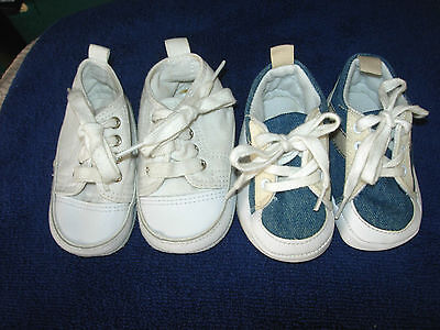 SIZE 1 LOT of 2 baby boys sneakers-white with leather toes   blue   beige  canvas -  6.99  b203bd49449f