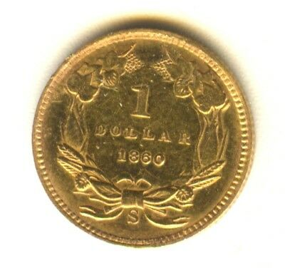 1860 S $1 Gold Type 3 MS Details In Grade Early Gold Type Coin Reflective Fields