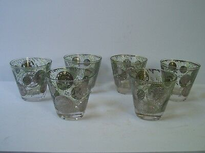 Vintage CULVER Set of 6 22k Gold Coin Pattern Lowball Bar Glasses Mid Century