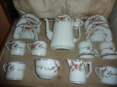 Boxed Rosina China Coffee Pot/milk/sugar &6 Cups/saucers With Bird &flower Decor