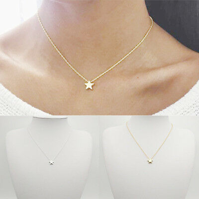 ITS- Simple Tiny Five Point Star Pendant Women Choker Short Necklace Chain Sanwo