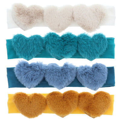 Cute Baby Headband with Three Fur Hearts Soft Stretchy & Pretty Great Color