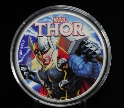 2018 Tuvalu Marvel Series Thor Colorized .9999 Fine Silver Round [06DUD]