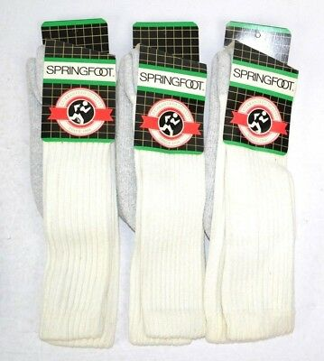 Vtg 1990s Lot of 3 Springfoot Over the Calf Double Thick Padded Sole Tube Socks