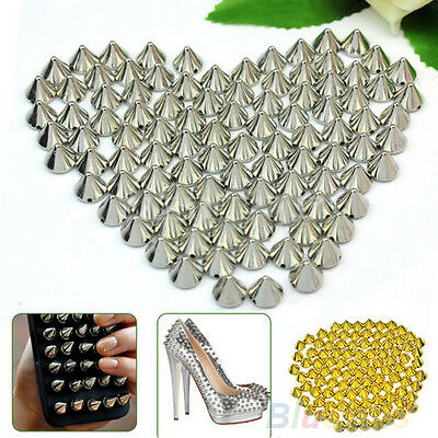 ITS- 100 Pcs 10mm Stud Round Spike Rivet Craft Bag Leather Craft Accessories Par