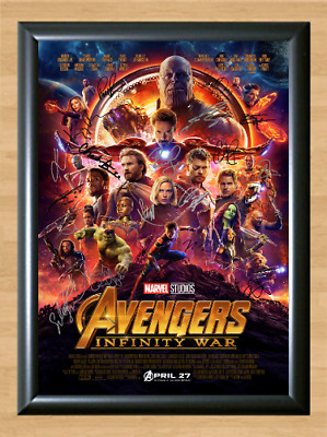 Avengers Infinity War Marvel Cast Signed Autographed A4 Poster Photo Memorabilia