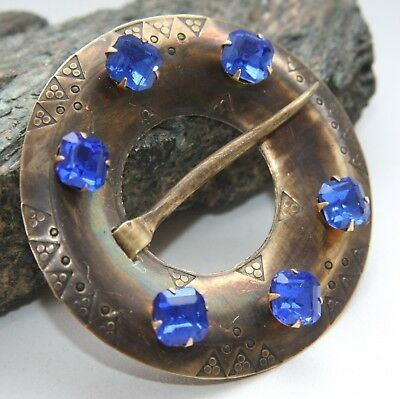 Antique Vintage Ethnic Ornament Brass Brooch Pin With Blue Stones