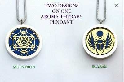 Silver /Gold Metatron and Scarab Aromatherapy Double Sided Pendant