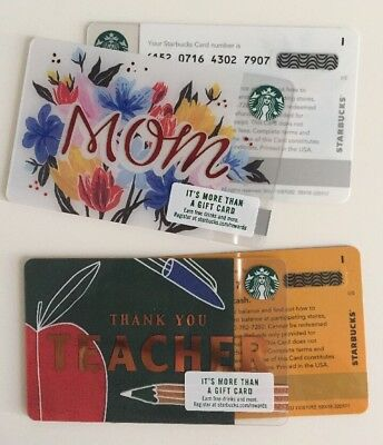 Lot x 2! New STARBUCKS GIFT CARDS Printers Mark, Mom + Teacher 2018. Mint