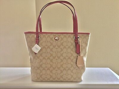 NWT~COACH Peyton Signature Zip Top Large Tote $328~Light Khaki/STRAWBERRY F28365